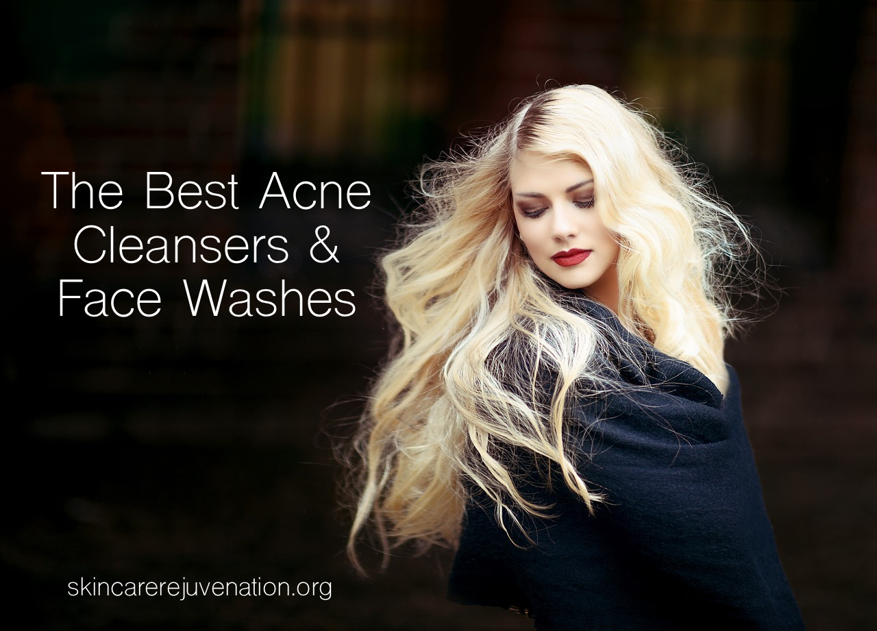 a woman shows her beautiful face after using the best acne cleansers and face washes