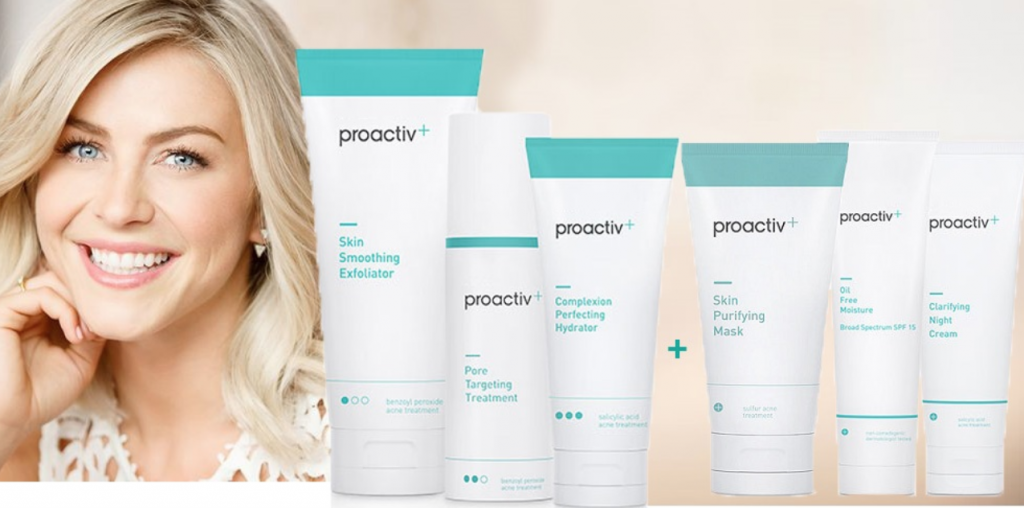 the full line of proactiv skin purifying products sitting next to Julianne Hough
