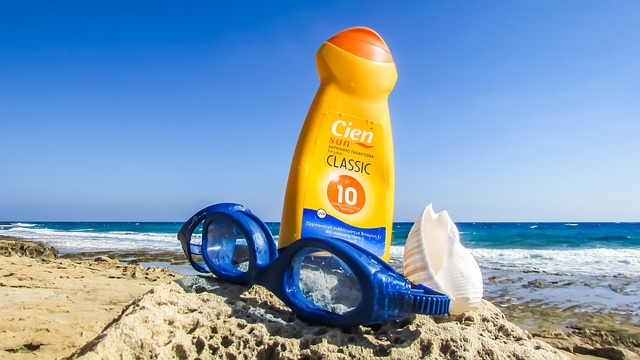 sunscreen in the sand